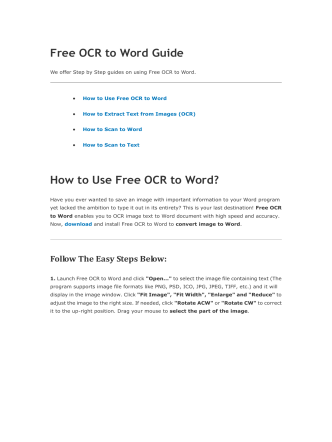 Free OCR to Word Guide How to Use Free OCR to Word?