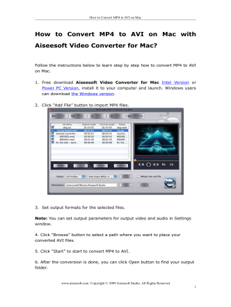 How to Convert MP4 to AVI on Mac with Aiseesoft Video Converter
