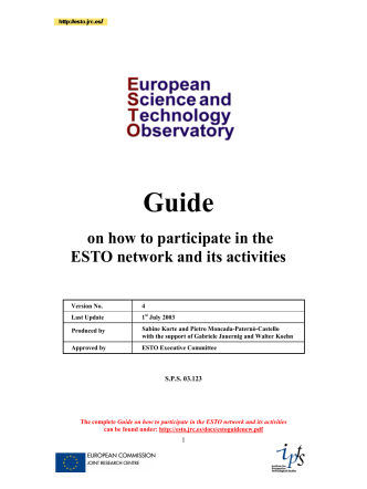 on how to participate in the ESTO network and its activities