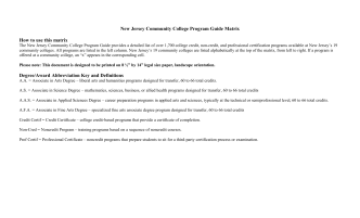 New Jersey Community College Program Guide Matrix How to use