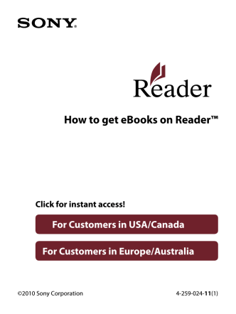 Instructions: How to get eBooks on Reader - Sony