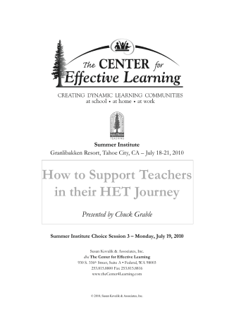 How to Support Teachers in their HET Journey - The Center for