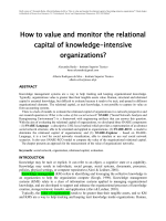 How to value and monitor the relational capital of - ISG - INESC-ID