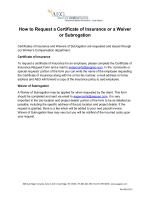 How to Request a Certificate of Insurance or a Waiver or Subrogation