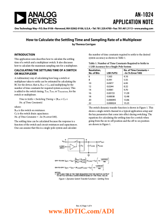 AN-1024 How to Calculate the Settling Time and Sampling Rate of a