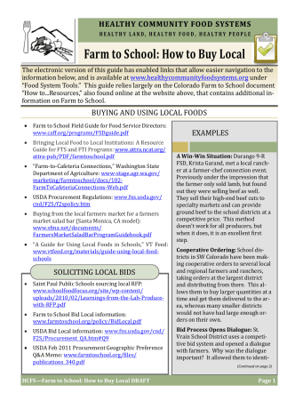 Farm to School: How to Buy Local - Healthy Community Food Systems