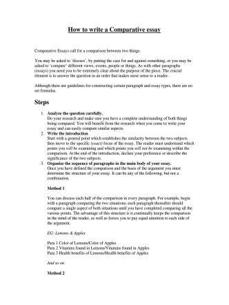 How to write a Comparative essay Steps