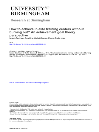 Research at Birmingham How to achieve in elite training centers
