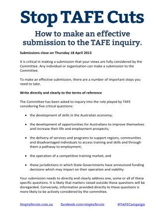 How to make an effective submission to the TAFE - Stop Tafe Cuts