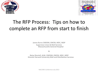 The RFP Process: Tips on how to complete and RFP - NACUMS
