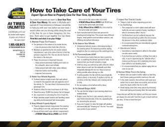 How to Take Care of Your Tires - A1 Tires Unlimited
