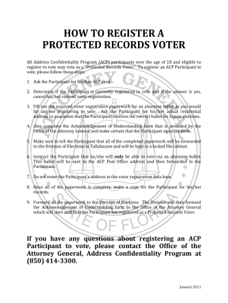 HOW TO REGISTER A PROTECTED RECORDS VOTER