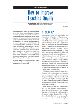 How to Improve Teaching Quality - ASQ