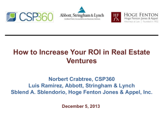 How to Increase Your ROI in Real Estate Ventures - Hoge, Fenton