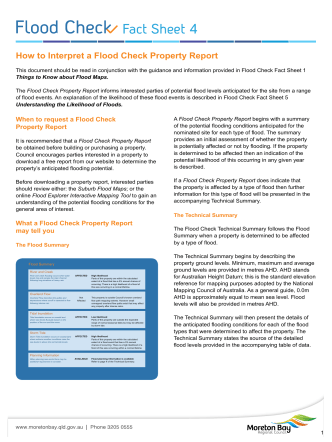 Flood Check - Fact Sheet 4 - How to interpret a Flood Check