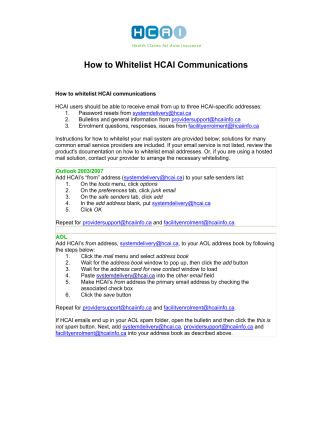 How to Whitelist HCAI Communications