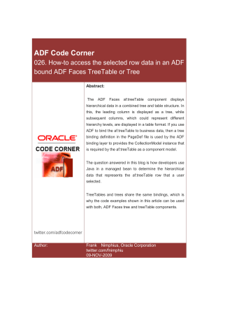 ADF Code Corner: How-to access the selected row data in - Oracle