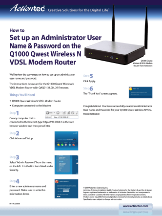 Qwest Q1000 How to set Admin Password - Actiontec