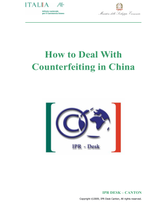 How to Deal With Counterfeiting in China