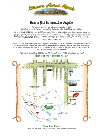 How to find Us from Los Angeles - Green Acres Ranch