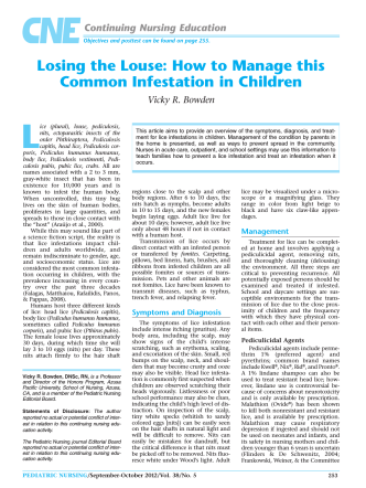 Losing the Louse: How to Manage this Common - Pediatric Nursing