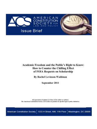 Academic Freedom and the Publics Right to Know: How to - ACS