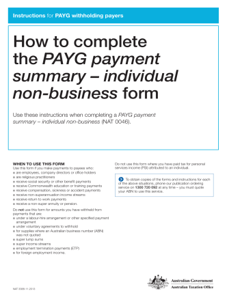How to complete the PAYG payment summary – individual non