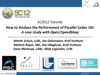 SC2012 Tutorial How to Analyze the - Open|SpeedShop