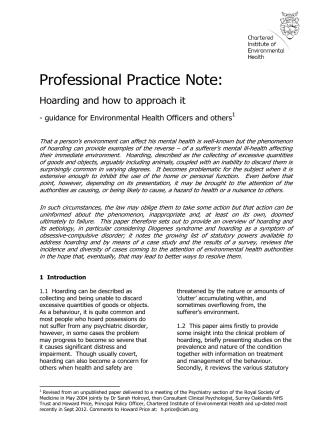 Professional Practice Note: Hoarding and how to approach it