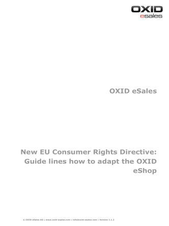 OXID eSales New EU Consumer Rights Directive: Guide lines how