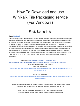 How To Download and use WinRaR File Packaging service (For
