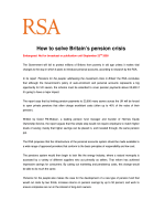 How to solve Britains pension crisis - RSA