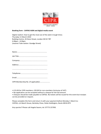 Booking form - CAPSIG AGM and digital media event Digital - CIPR