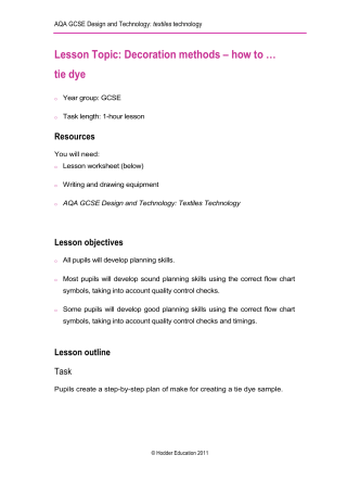Lesson Topic: Decoration methods – how to … tie dye - Dynamic