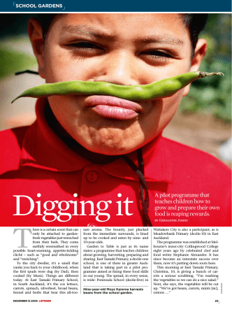 Digging it A pilot programme that teaches children how to grow and