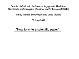 """How to write a scientific paper"""