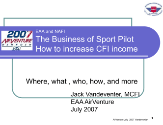 The Business of Sport Pilot How to increase CFI income - Master