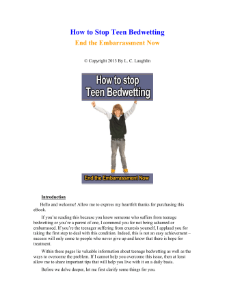How to Stop Teen Bedwetting