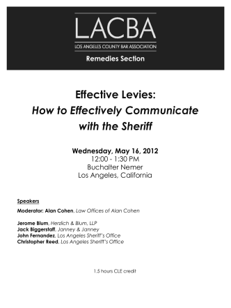 Effective Levies: How to Effectively Communicate with the Sheriff