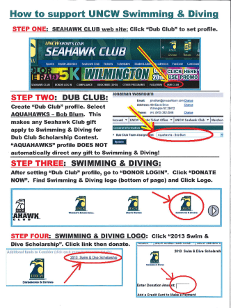 How to support UNCW Swimming  Divin - Aquahawks