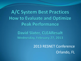 A/C System Best Practices How to Evaluate, Optimize and - Resnet
