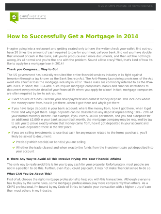 How to Successfully Get a Mortgage in 2014 - Coastal Housing