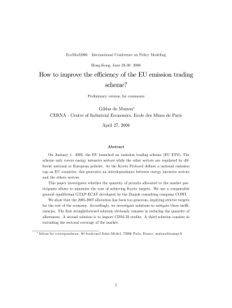 How to improve the effi ciency of the EU emission trading - Cerna