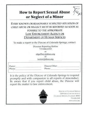 How to Report Sexual Abuse 1 J - Our Lady of the Pines Catholic