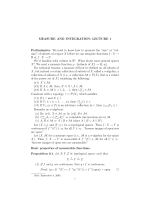 MEASURE AND INTEGRATION: LECTURE 1 Preliminaries. We