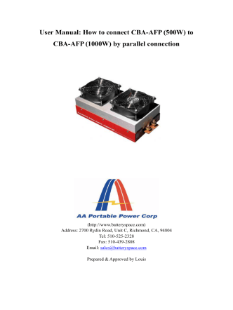 User Manual: How to connect CBA-AFP (500W) to - BatterySpace