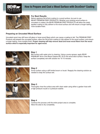 How to Prepare and Coat a Wood Surface with DECKOVER - Behr