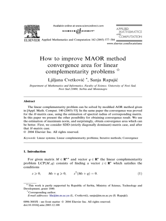 How to improve MAOR method convergence area for linear