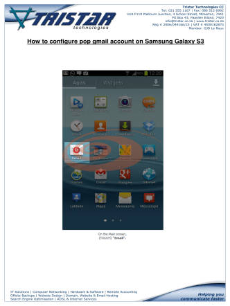 How to configure pop gmail account on Samsung Galaxy S3 - Tristar