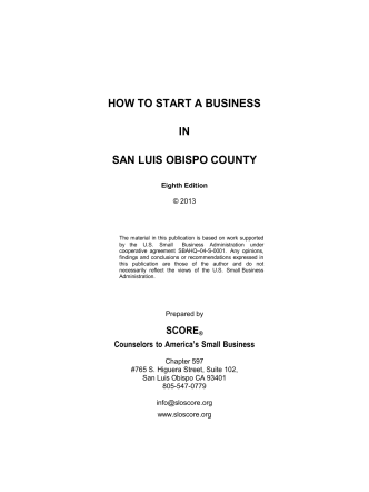 HOW TO START A BUSINESS IN SAN LUIS OBISPO - SCORE